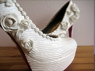 White Rose Wedding heels