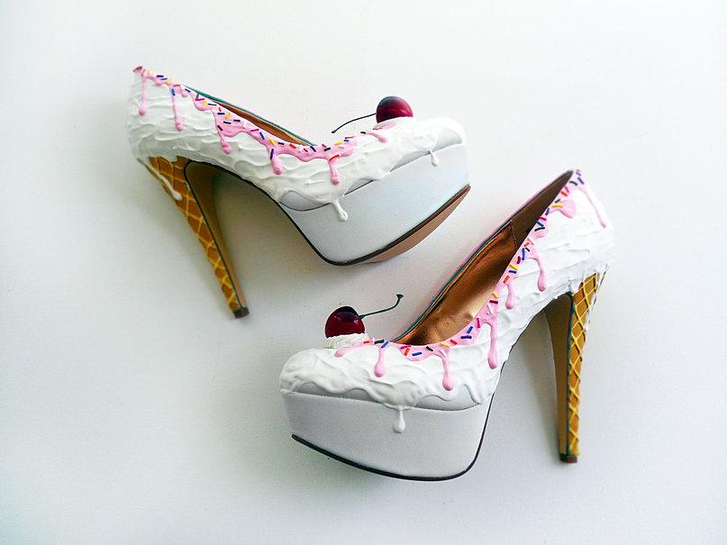 Vanilla Ice Cream Heels/ Pink Syrup - Shoe Bakery