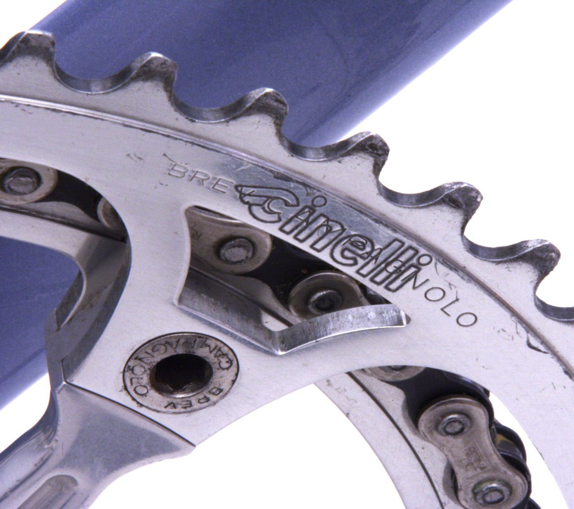 laser cinelli stamped over campag logo chain ring