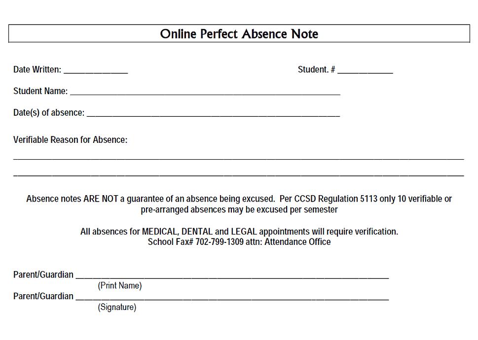 Bob Miller Middle School Henderson Nevada – Absence Note
