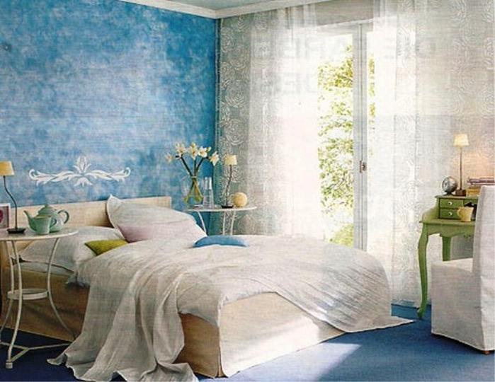 Голубой цвет спальни фото
