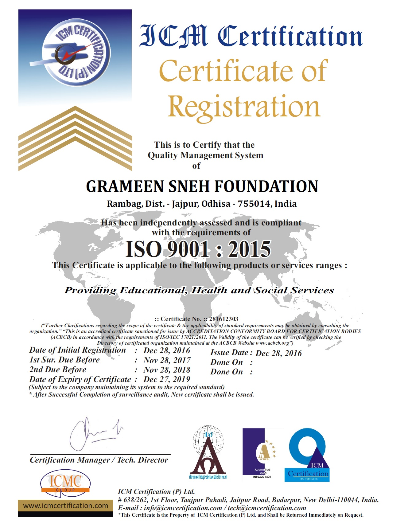 Gsf gets iso 90012015 certification grameen sneh foundation gsf gets iso 90012015 certification grameen sneh foundation for cancer awareness prevention xflitez Gallery