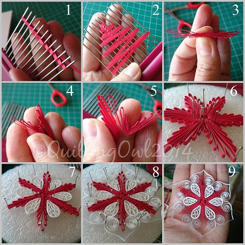 Snowflake By Quilling Owl Flowers Using Comb Tutorial
