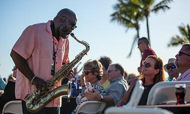 Musician playing Sazaphone at Sounds of Jazz 2019