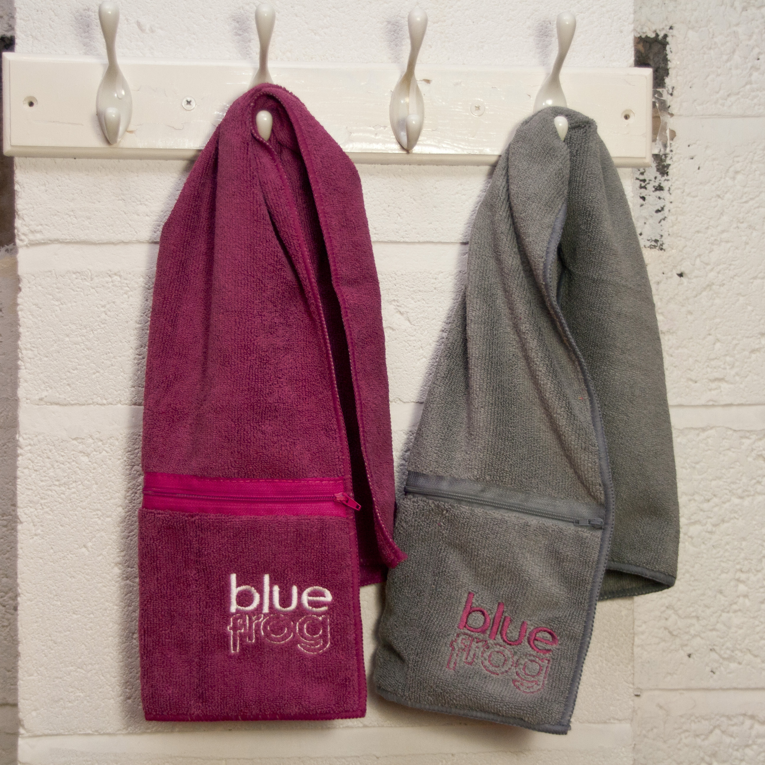 His & Hers Sweat Towels: 1 Pink, 1 Grey