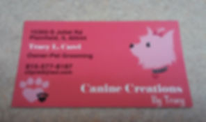 Canine Creations by Tracy business card