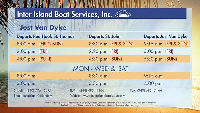 Inter Island Ferry Schedule Bvi