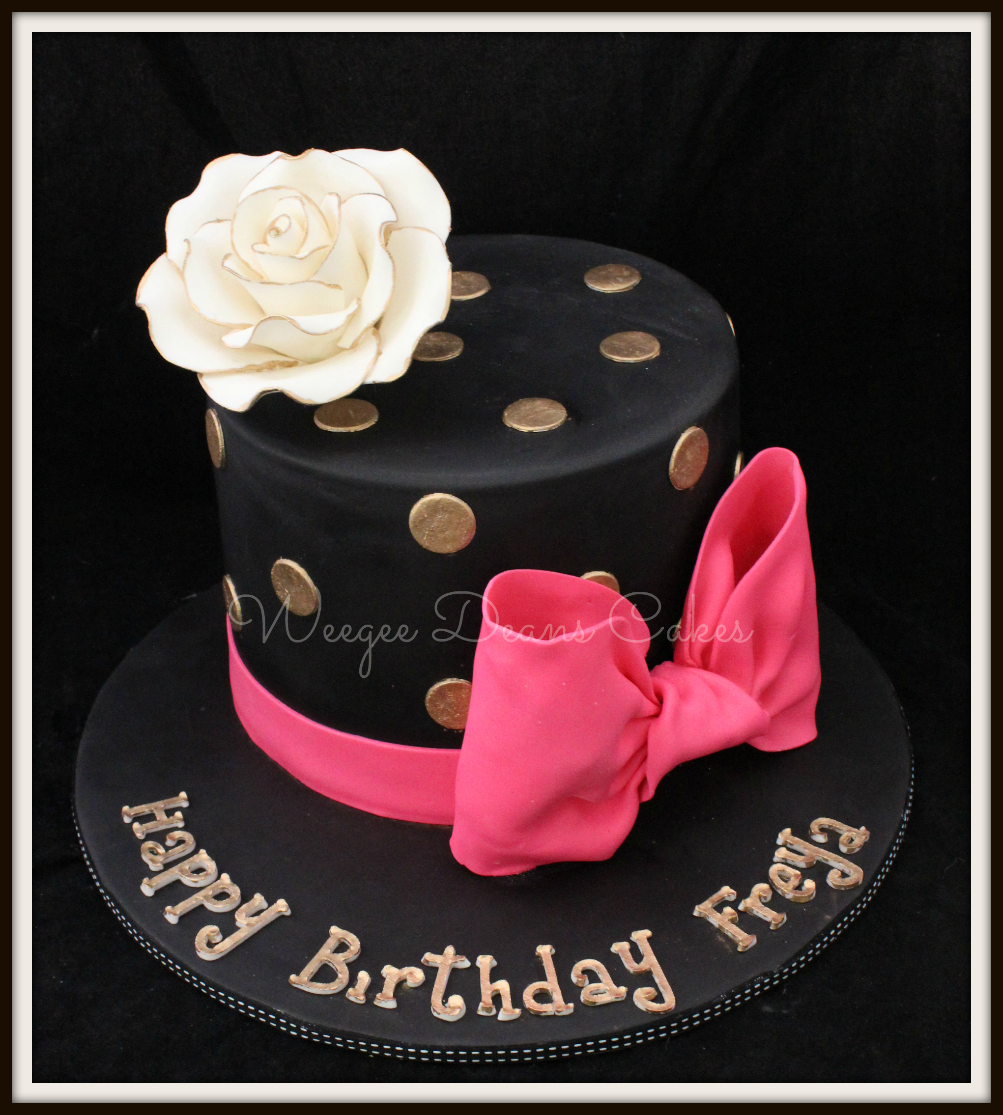 Black Gold And Pink Female Birthday Cake