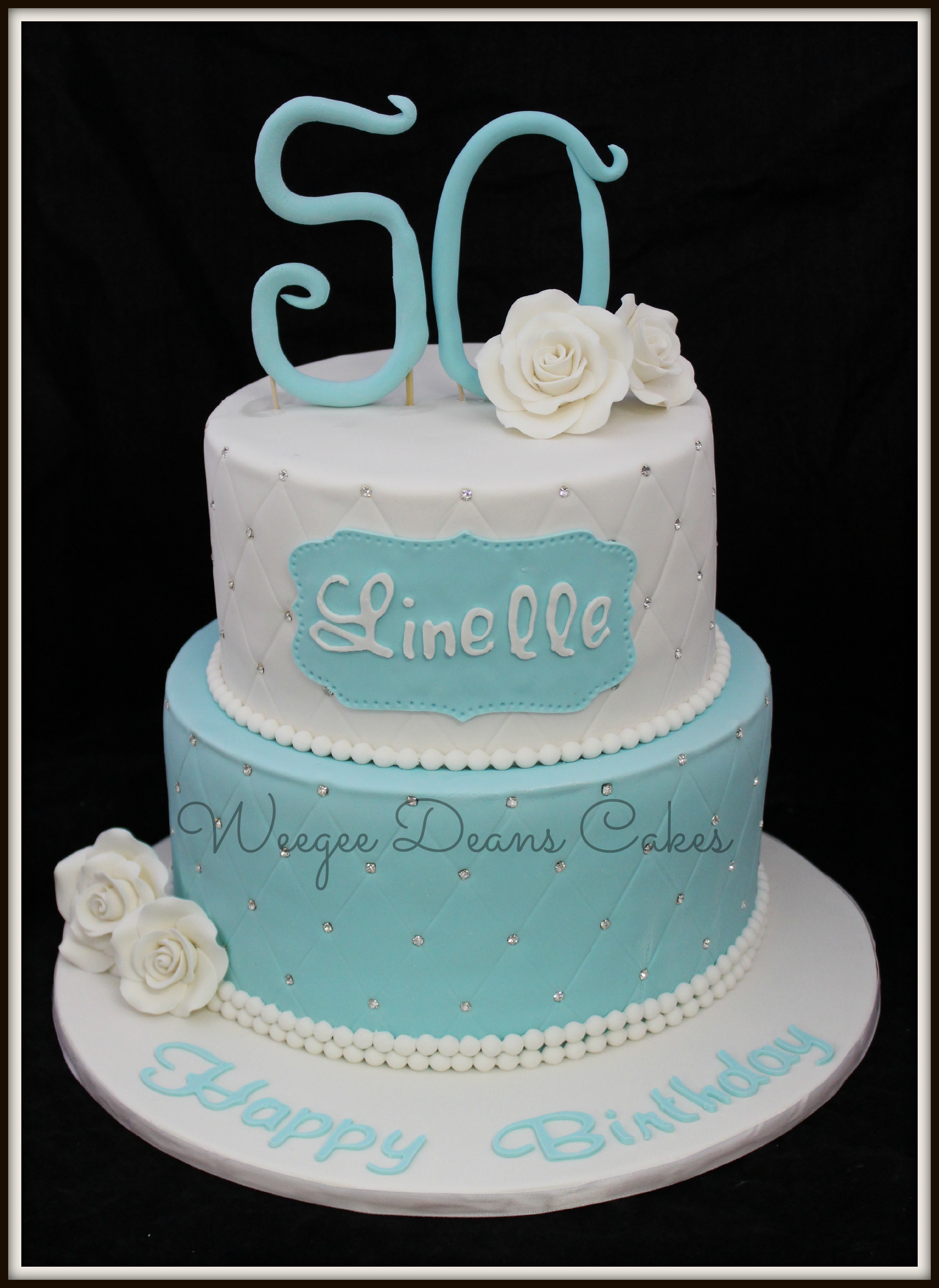 50th Tiffany Blue Rose And Bling Birthday Cake