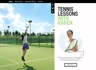 Tennis Lessons Template - Game, set, match – win over your students with this bright and friendly template. Post your bio, services, and rates, upload photos, put up a contact form, and get ready to show the world your best serve!
