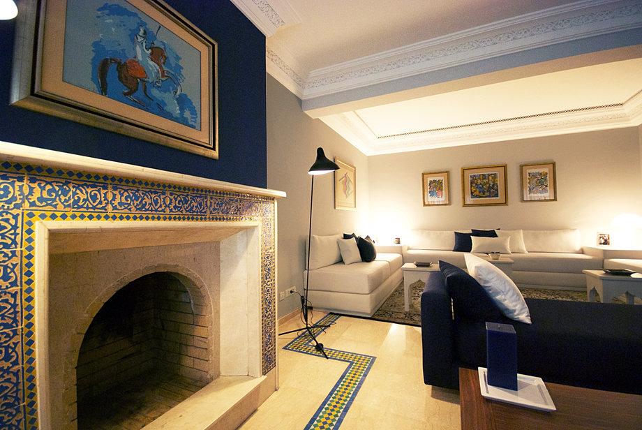 salon marocain contemporain chemine traditionnelle - Cheminee Contemporain Villa Marocaine