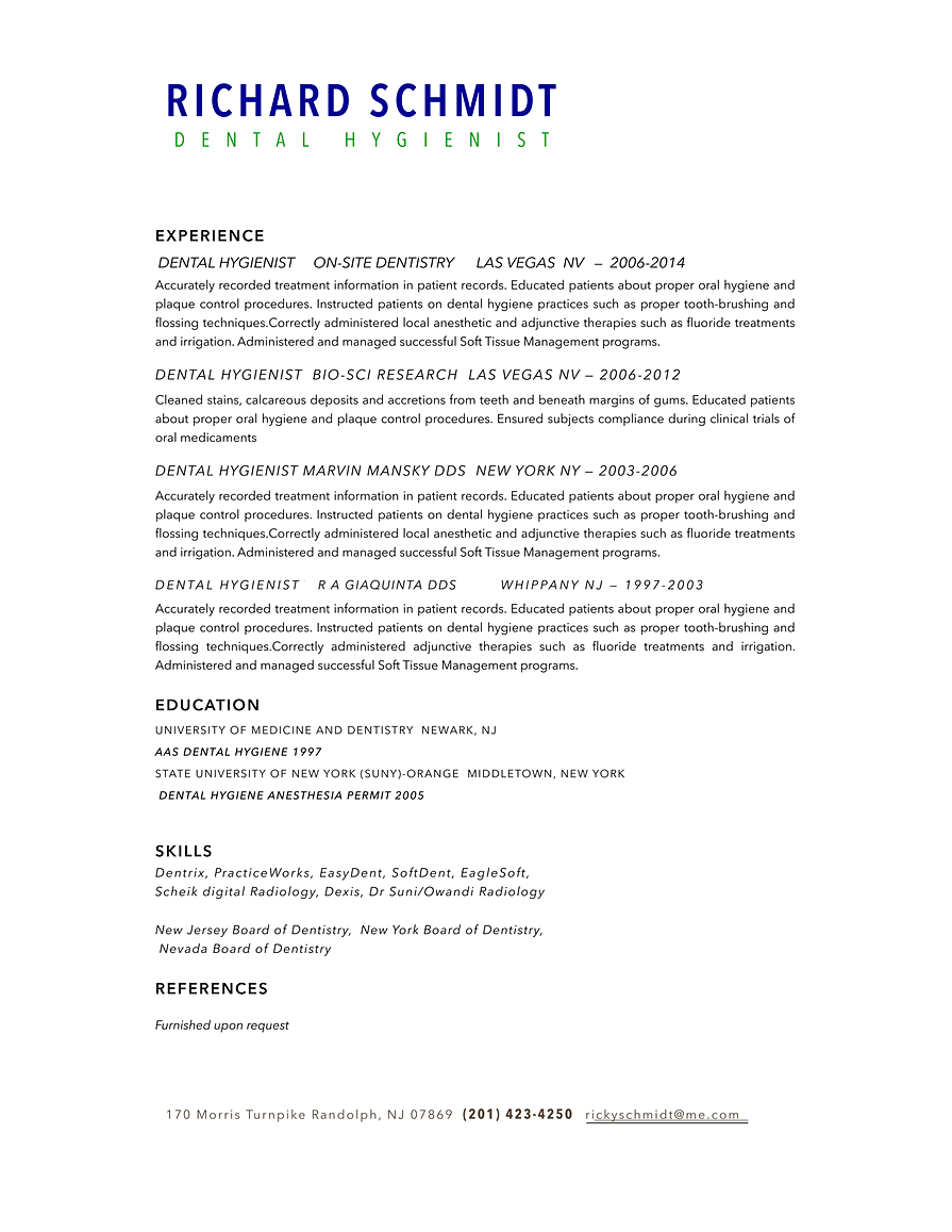 richard schmidt dental hygienist cv resume cv
