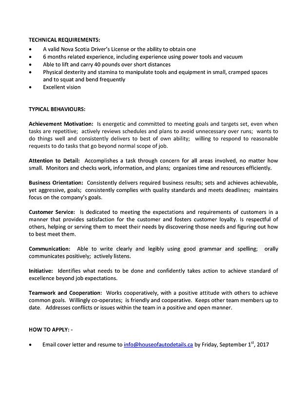 house of auto detail auto detailing technician - Auto Detailer Resume