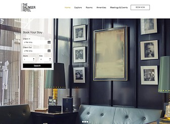 Modernes Hotel Template - With a fullscreen slideshow gallery situated on the homepage, this is the perfect website template for any proud hoteliers to impress and entice their guests. Simply customize the galleries by adding striking images of your hotel and the services you offer and personalize the text to suit the style of hotel. Manage your reservations using the Wix booking App and watch as your hotel rooms get booked up!