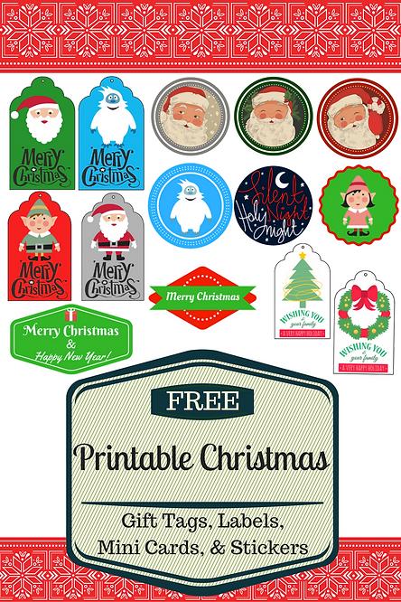 Free printable christmas gift tags labels stickers mini cards free printable christmas gift tags labels stickers mini cards negle Image collections