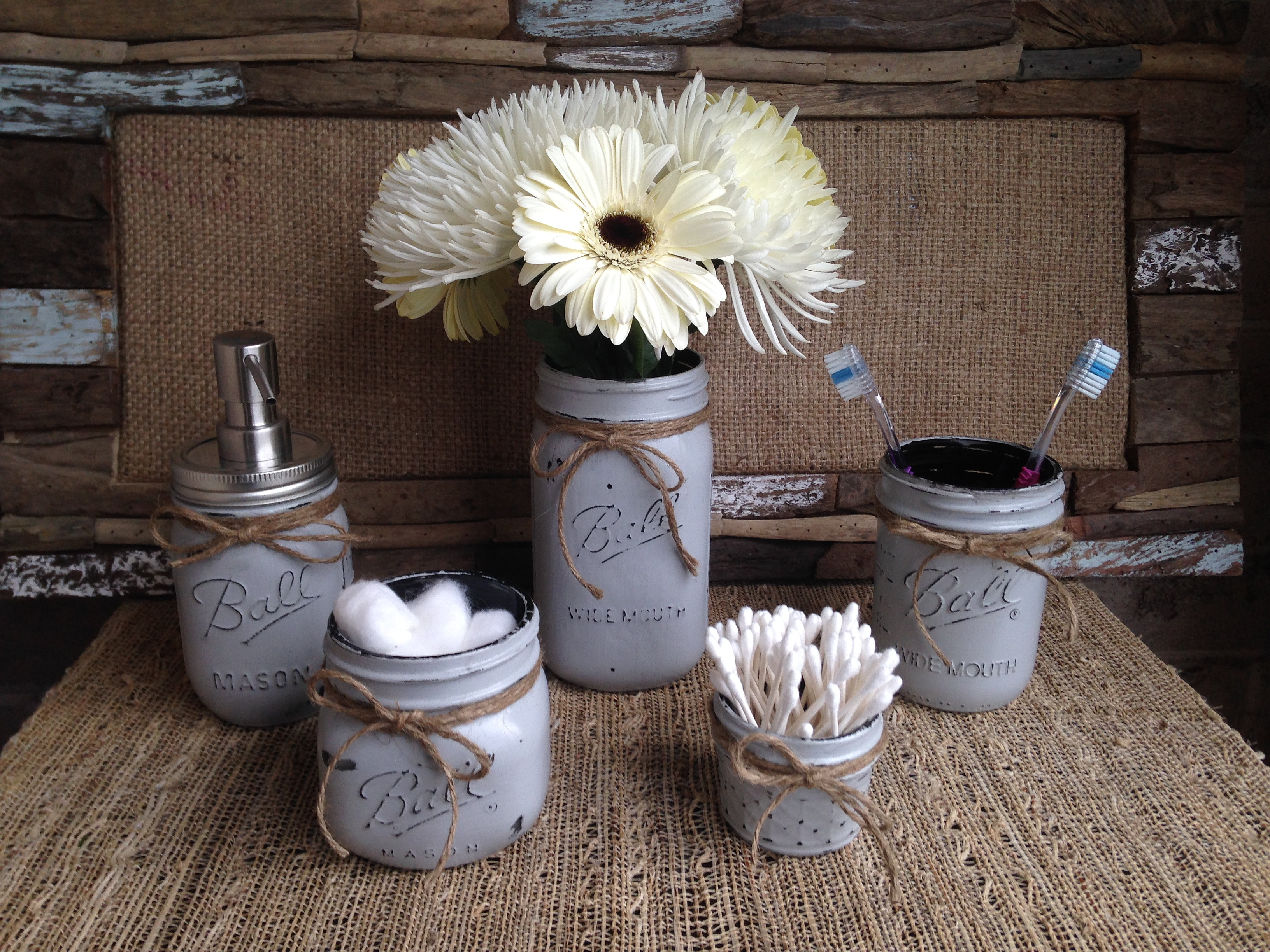 Mason Jar Bathroom Accessories Finishmepretty Masonjars Burlington Mason Jar Bathroom Set