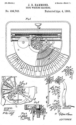 Hammond Typewriter No.1 Patent 1880