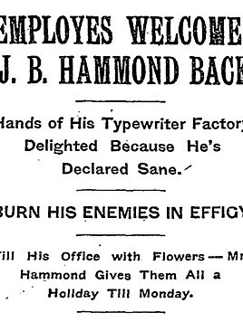 James Bartlett Hammond Declared Sane Article
