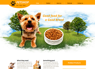 Pet Supplies Template - Bright colors and playful illustrations give this template a friendly feel. This is the perfect place to showcase your products and share your philosophy and expertise. Create a website and take your pet supply store online!