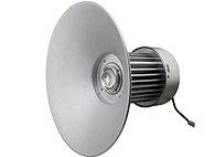 Luminária Industrial com difusor em alumínio anonizado alto brilho. Modelo com led.  * Opção sob consulta de tampa em lente de vidro ou poliestireno prismático fixado por meio de aro.  1x  LED 100W BRANCO 6000K   Diâmetro: 420 Altura: 680