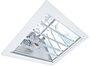 Luminária retangular Industrial de embutir. Modelo Posto de Gasolina Chapa de aço com refletor facetado em alumínio importado alto brilho e difusor em vidro plano temperado com sistema anti-ofuscante. Acompanha soquete E-40.  Simétrico:       (PGS10) Soq