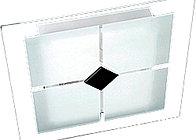 Plafon quadrado de sobrepor simples em vidro fosco.   YQ10/P - 2x Lâmpada fluor compacta eletrônica E27 até 19w espiral. YQ10/M - 2x Lâmpada fluor compacta eletrônica E27 até 19w espiral. YQ10/G - 4x Lâmpada fluor compacta eletrônica E27 até 19w espira