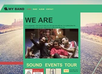 락밴드의 폼나는 앨범 홍보 Template - 인디 뮤지션의 색채가 강한 이 템플릿으로 밴드 및 가수, 앨범 홍보를 위한 홈페이지를 제작하세요. 팬들을 위해 내 음악과 동영상을 공유하고, 공연일정도 업데이트하세요.