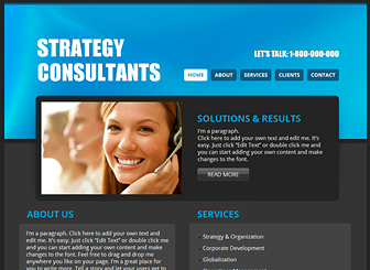 Strategy Consultant Template - A polished and information-based template perfect for your consulting or financial firm. The ample space for text allows you to focus attention on your services, qualifications, and professional vision. Create a website to take control of your online presence!