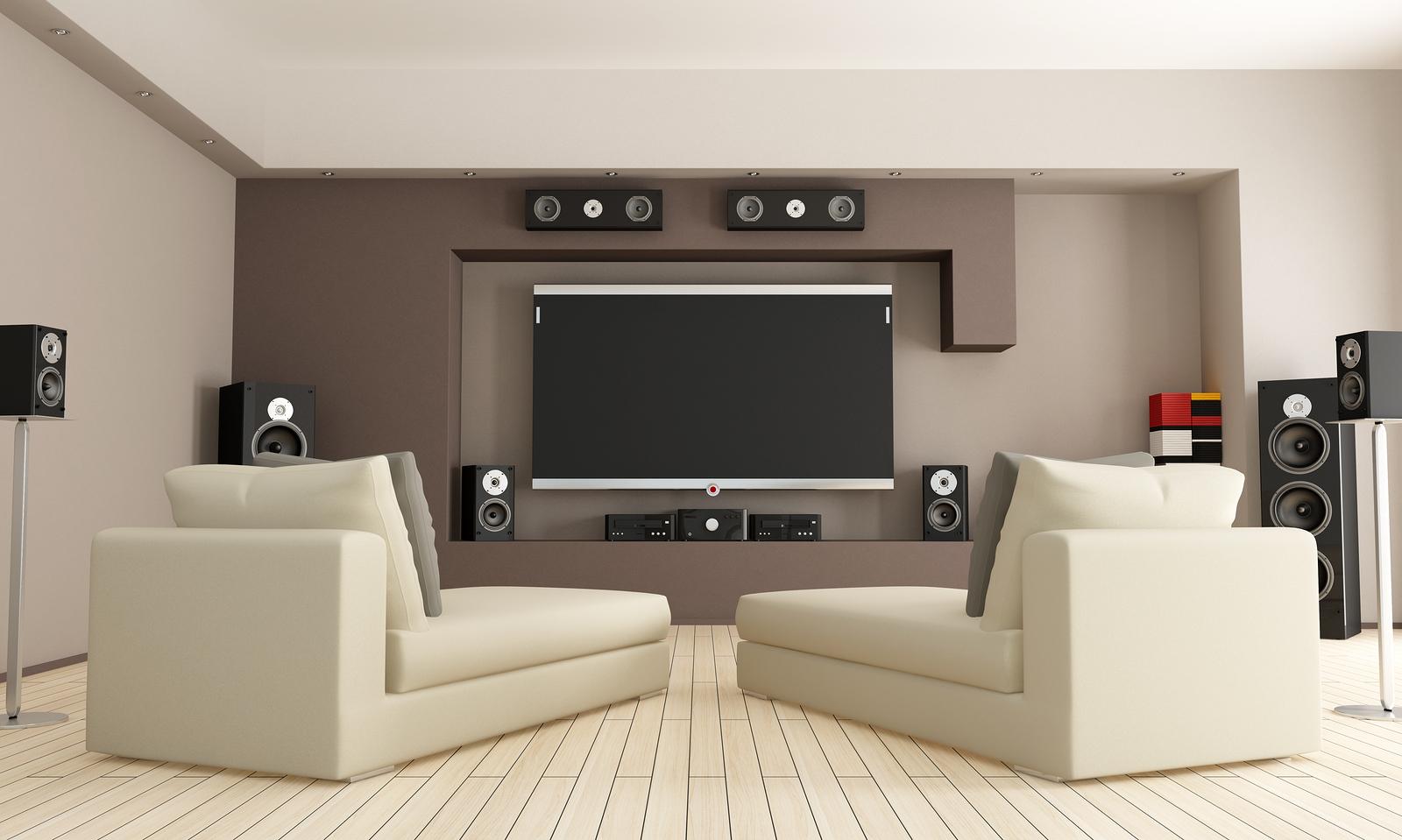 Фото домашний кинотеатр в интерьере гостиной