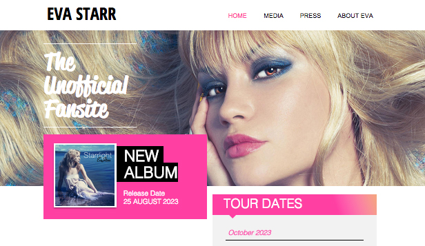 Site de fan de pop star