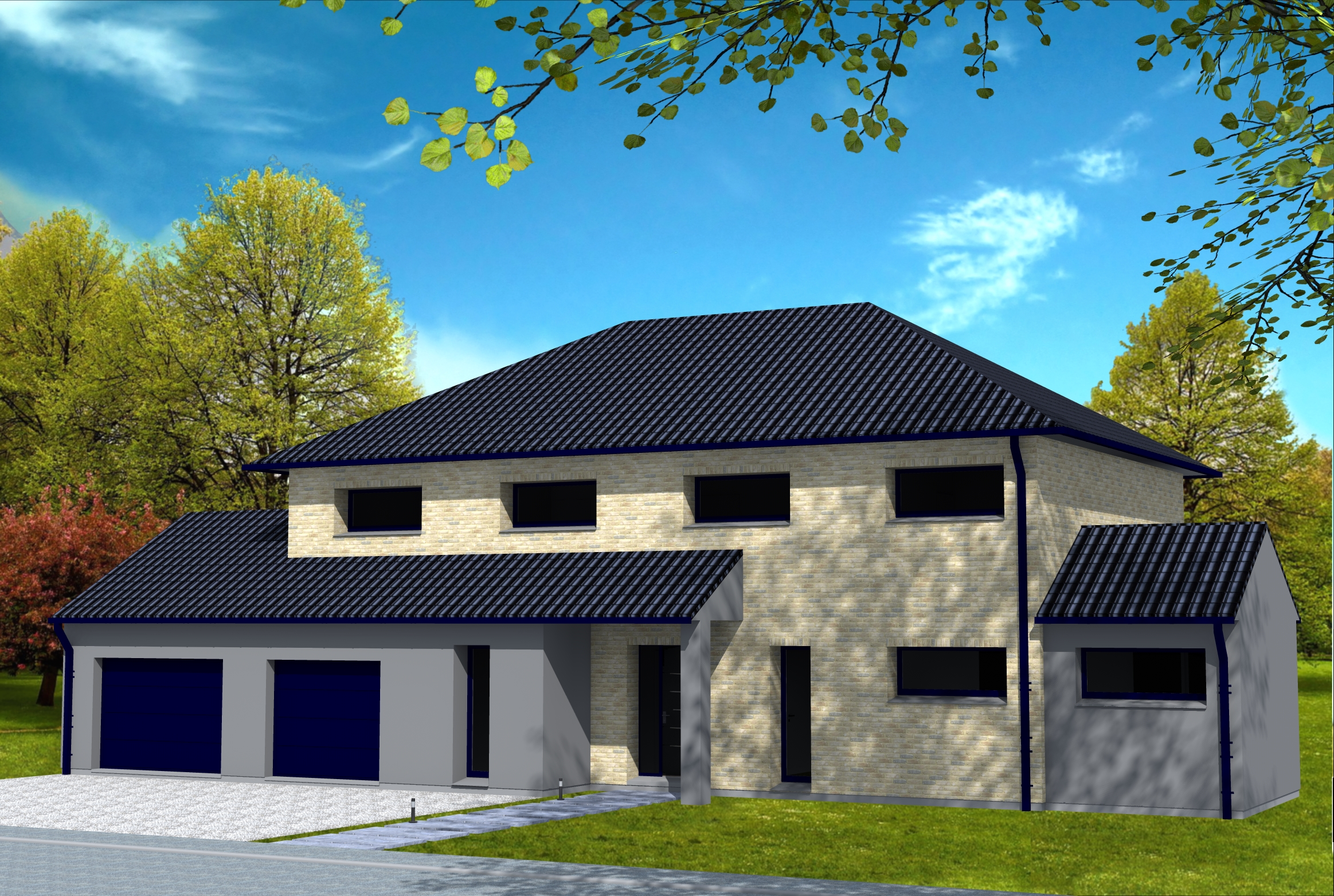 Maison Contemporaine D 39 Architecte Toiture Tuiles Noires Et ...