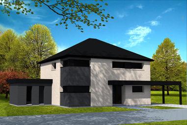 Maison cubique avec toit 4 pans yohann baheux ma tre d 39 oeuvre permis de construire 59 62 for Maison cubique toit 4 pans