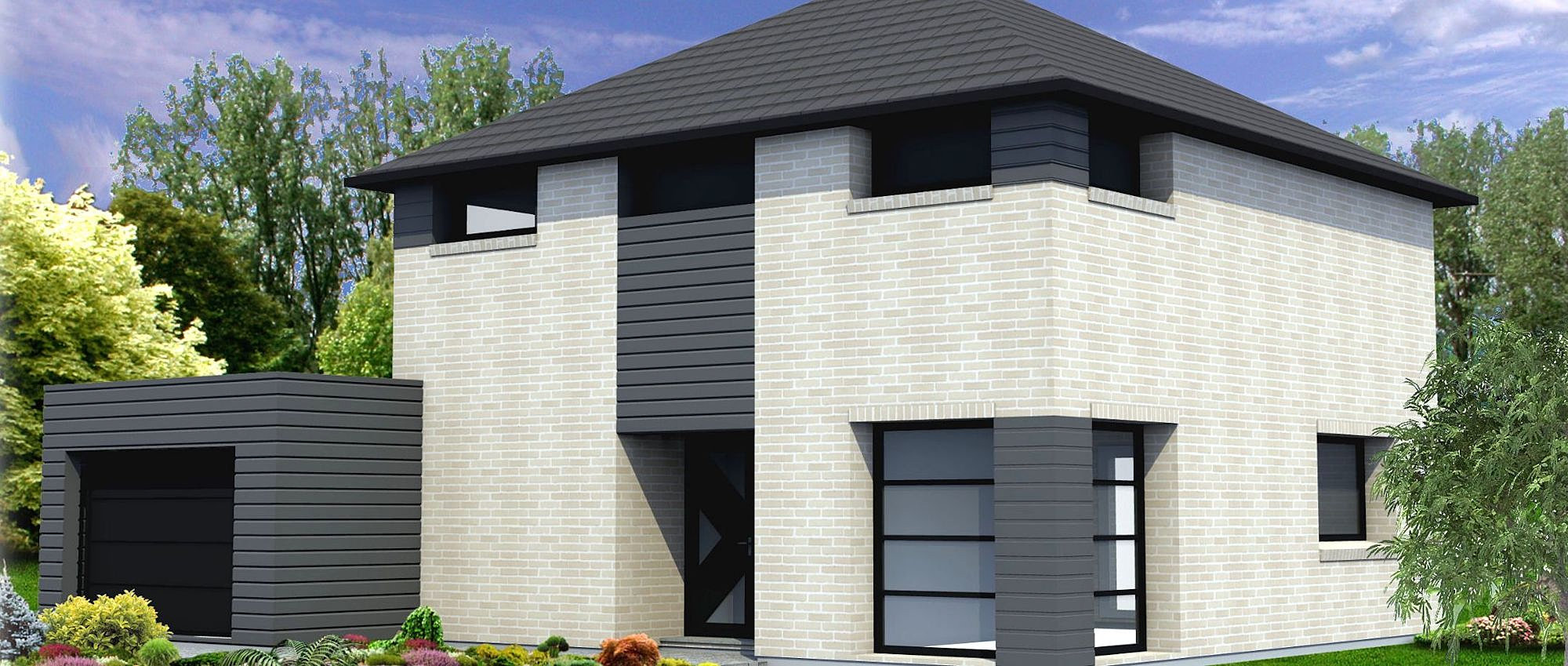 Maison brique grise voir tous les produits with maison - Maison contemporaine grise ...