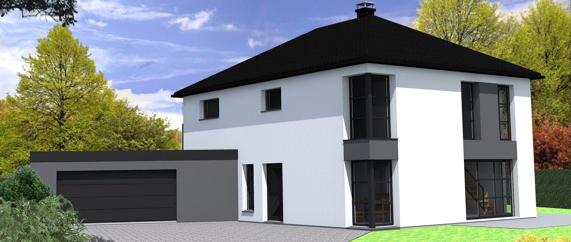 Maison moderne avec volets for Maison moderne 57