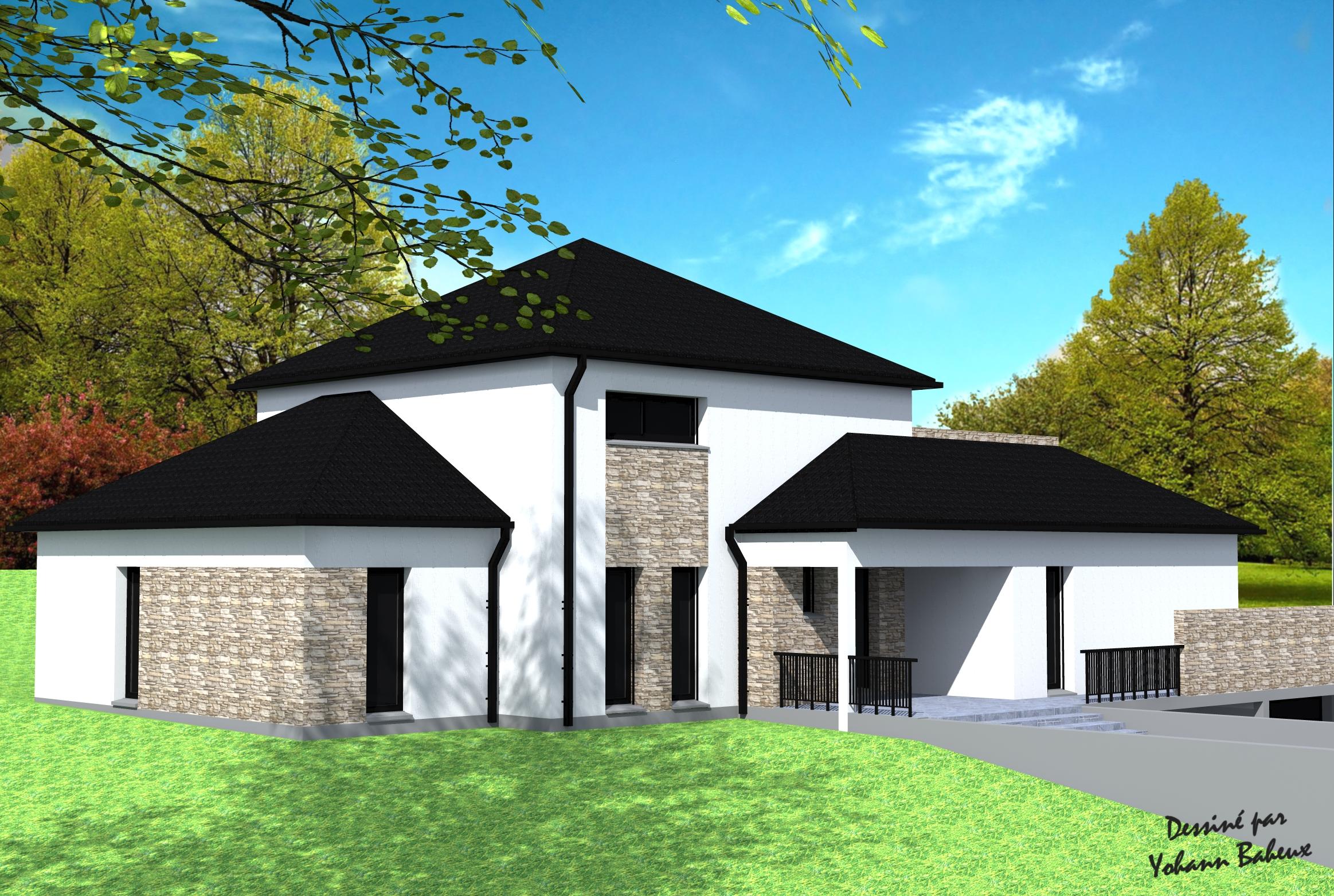 Plan maison 4 pans maison design 123 m 4 chambres plan for Extension maison 4 pans