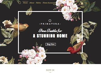 Textile Studio Template - With a stunning floral design and an elegant layout, this eCommerce template is perfect for boutique stores selling something beautiful. Manage your inventory and easily accept payments online with Wix Stores! Upload images of your products, customize descriptions and add prices, and you're ready for business.