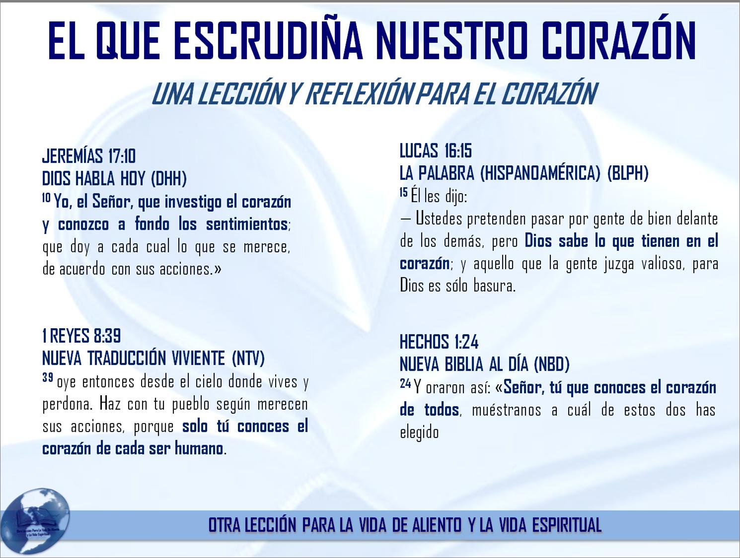 EL QUE ESCUDRIÑA NUESTRO CORAZÓN - UNA LECCIÓN Y REFLEXIÓN PARA EL ...