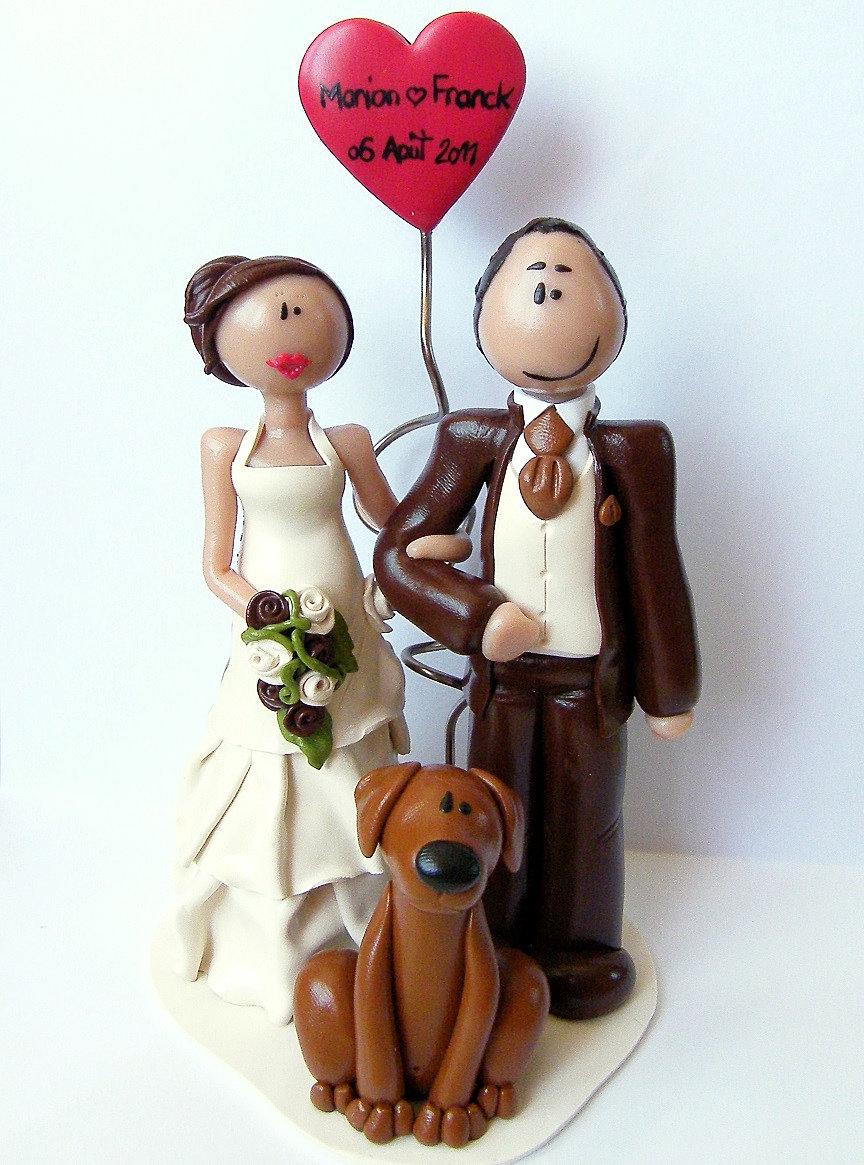 figurine mariage personnalise fimo ballon coeur chien littlemandarinejpg - Figurine Mariage Personnalise