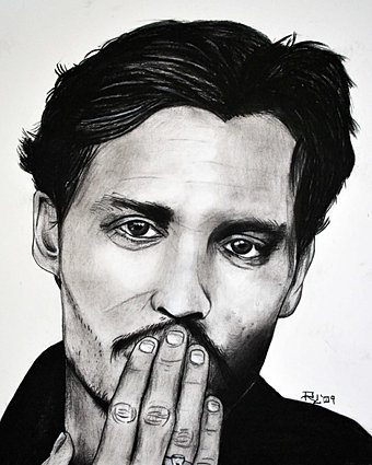 johnny depp charcoal on paper