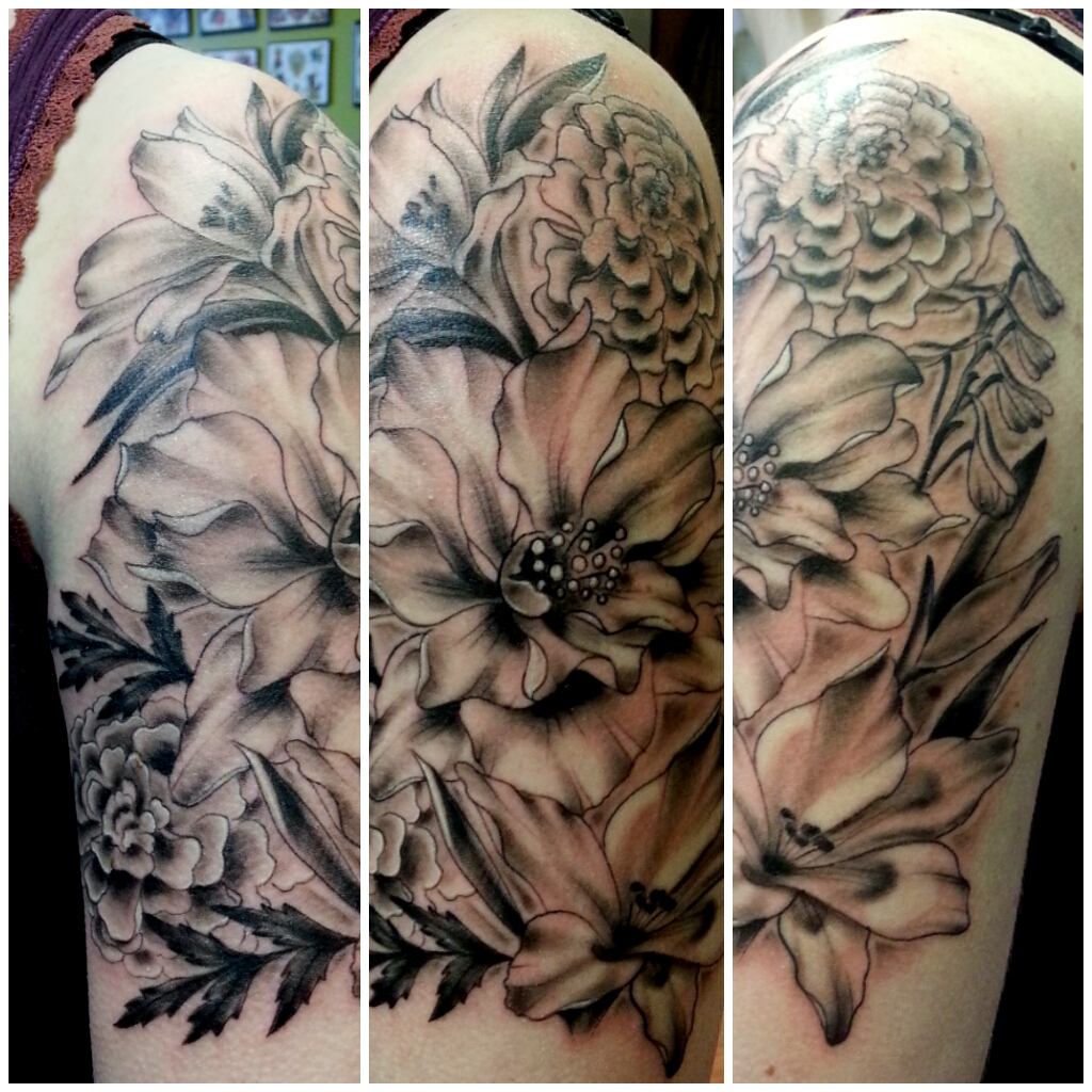 Black and grey chrysanthemum tattoo