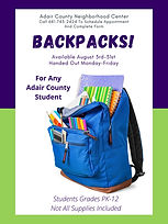 BACKPACKS AVAILABLE AT ADAIR COUNTY NEIG
