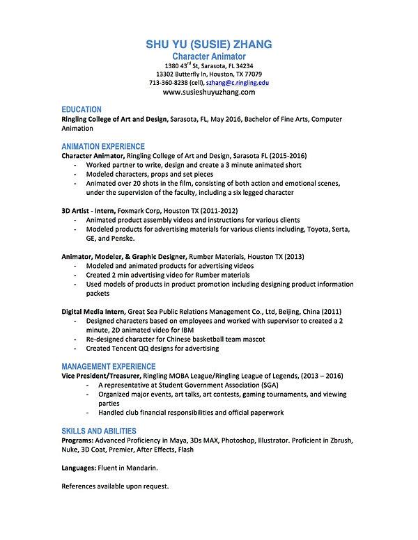 susie zhang demo reel resume