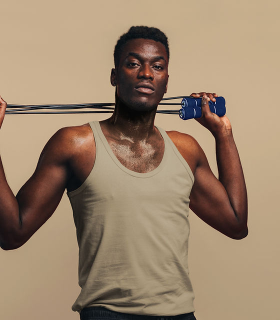 Fit Man with Skipping Rope
