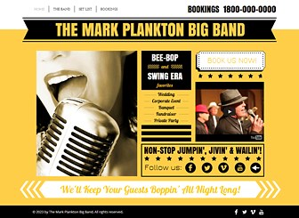 Swing Band Template - This template's vivid color scheme and retro design match the energy of your band. Customize the photo gallery to introduce your musicians and add text to share your set list and contact information. Take your groove online and make bookings today!
