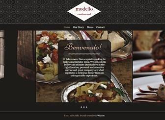 イタリアンレストラン Template - モダンでクールなデザインが特徴の、レストラン向けテンプレートです。レストラン情報、メニュー、お問い合わせの3つのページを使ったスタンダードなレイアウトを採用していますので、簡単編集で完成度の高いホームページを作成できます。