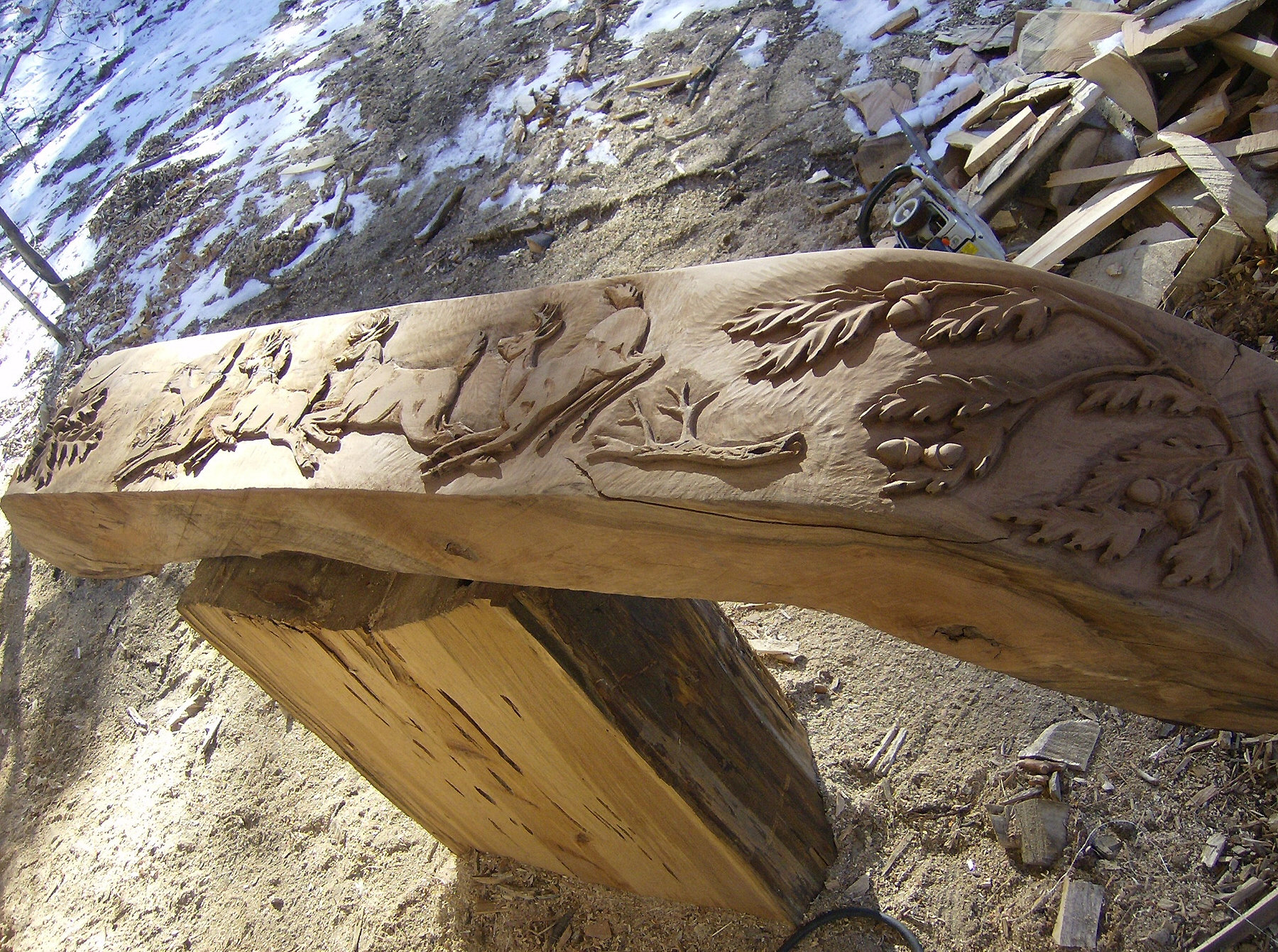 Chainsaw carving and log amenities