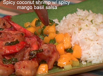 Spicy coconut shrimp with spicy mango basil salsa and lime jasmine ...