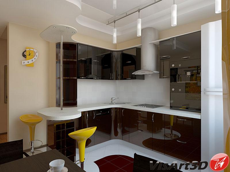 Дизайн квадратной кухни 10 кв.