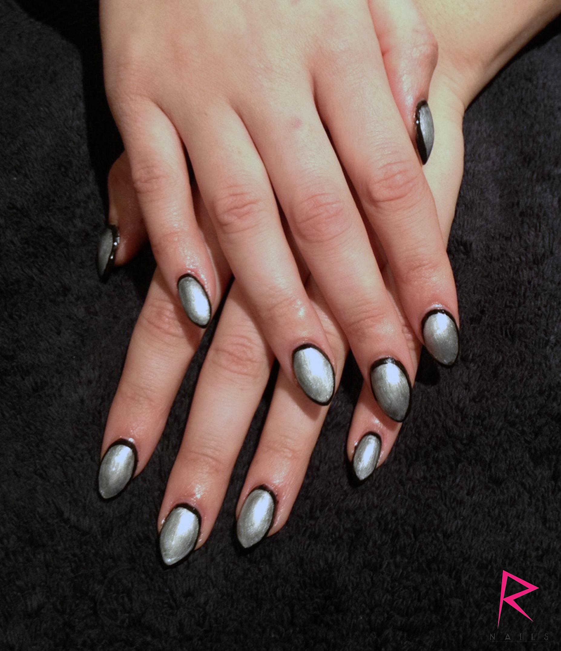 Shellac nail art on sculpted Acrylic