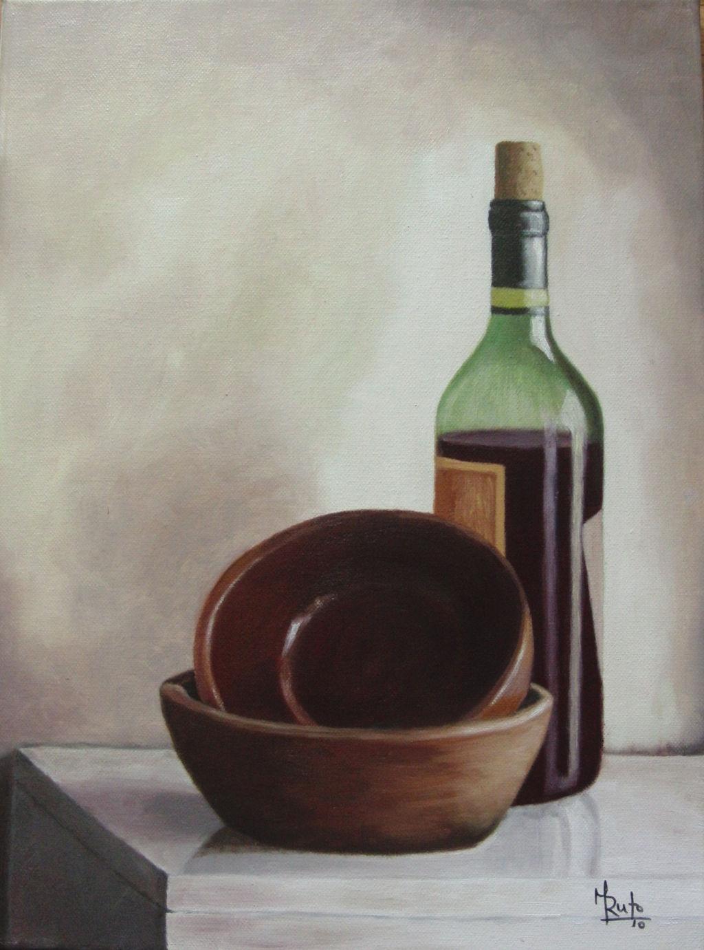 Botella de vino y cuencos